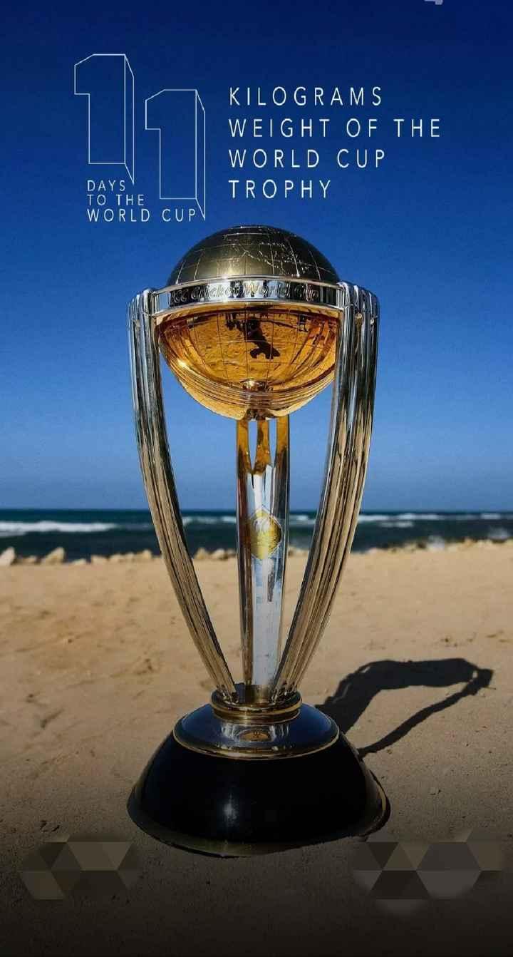 🏏 ক্রিকেট - KILOGRAMS WEIGHT OF THE WORLD CUP TROPHY DAYS TO THE WORLD CUP V - ShareChat