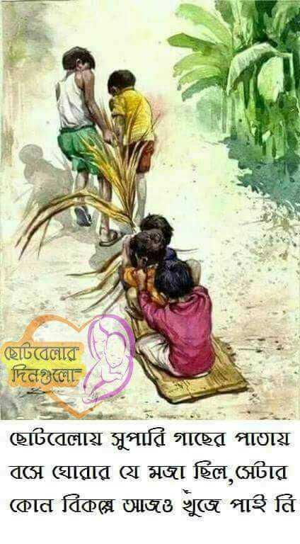 গ্রামবাংলার ছবি  🏝 - ছােটবেলার   দিনগুলাে   ছােটবেলায় সুপারি গাছের পাতায়   বসে ঘােরার যে মজা ছিল , সেটার   কোন বিকল্প আজও খুজে পাই নি - ShareChat
