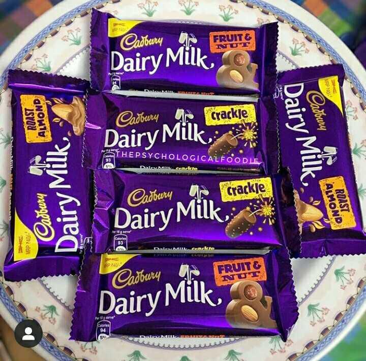 চকলেট 🍫 - SP Cadbury FRUIT FRUITS т Dairy Milk MAP 100 ROAST ALMOND Cadbury yo crackle adoury Dairy Milk Dairy Milk . ATHEPSYCHOLOGICAL FOODLE DATA Crackle Cadbury Dairy Milk ALMON ROAST Dairy Milk MRP 740 / FRUIT WU Cadbury F Dairy Mill ories - ShareChat