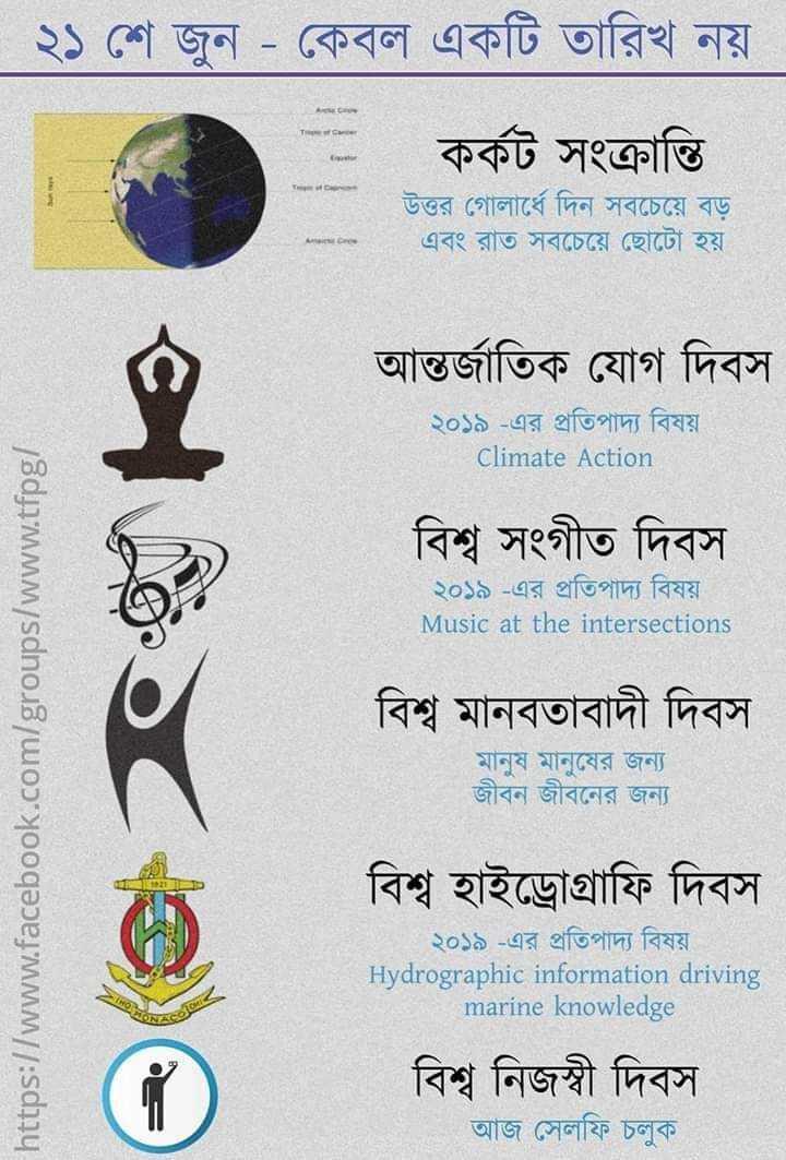 📰জেনারেল নলেজ - ২১ শে জুন - কেবল একটি তারিখ নয় । কর্কট সংক্রান্তি । উত্তর গােলার্ধে দিন সবচেয়ে বড় এবং রাত সবচেয়ে ছােটো হয় । আন্তর্জাতিক যােগ দিবস ২০১৯ - এর প্রতিপাদ্য বিষয় Climate Action বিশ্ব সংগীত দিবস ২০১৯ - এর প্রতিপাদ্য বিষয় । Music at the intersections https : / / www . facebook . com / groups / www . tfpg / বিশ্ব মানবতাবাদী দিবস মানুষ মানুষের জন্য জীবন জীবনের জন্য বিশ্ব হাইড্রোগ্রাফি দিবস ২০১৯ - এর প্রতিপাদ্য বিষয় Hydrographic information driving marine knowledge বিশ্ব নিজস্বী দিবস । আজ সেলফি চলুক - ShareChat
