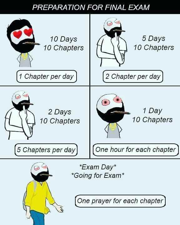 🤪 বদমাচি - PREPARATION FOR FINAL EXAM 10 Days 10 Chapters 5 Days 10 Chapters ( 1 Chapter per day 2 Chapter per day 2 Days 10 Chapters 1 Day 10 Chapters ( 5 Chapters per day ( One hour for each chapter * Exam Day * * Going for Exam * One prayer for each chapter ] - ShareChat