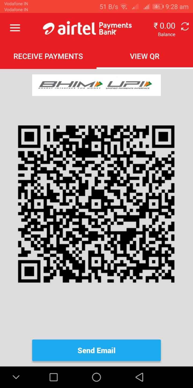 বিশ্ব টয়লেট দিবস - Vodafone IN Vodafone IN 51 B / s l . 46 19 : 28 am = airtel Bayments Payments Bank 0 . 00 Balance RECEIVE PAYMENTS VIEW QR BHIM UPI ONEY LINKED YALENTS INTERFACE Send Email v 0 0 0 - ShareChat