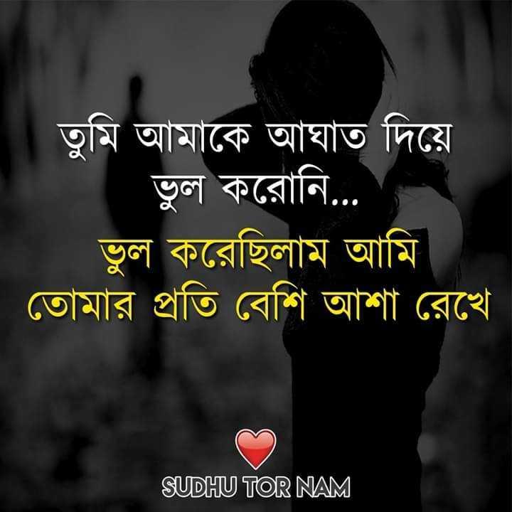 💔ভগ্নহৃদয় শায়েরি - তুমি আমাকে আঘাত দিয়ে ভুল করােনি . . ভুল করেছিলাম আমি । তােমার প্রতি বেশি আশা রেখে । SUDHU TOR NAM - ShareChat