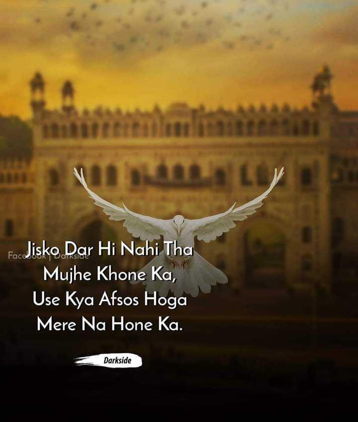 💔ভগ্নহৃদয় শায়েরি - FacJisko Dar Hi Nahi Tha Mujhe Khone Ka , Use Kya Afsos Hoga Mere Na Hone Ka . Darkside - ShareChat