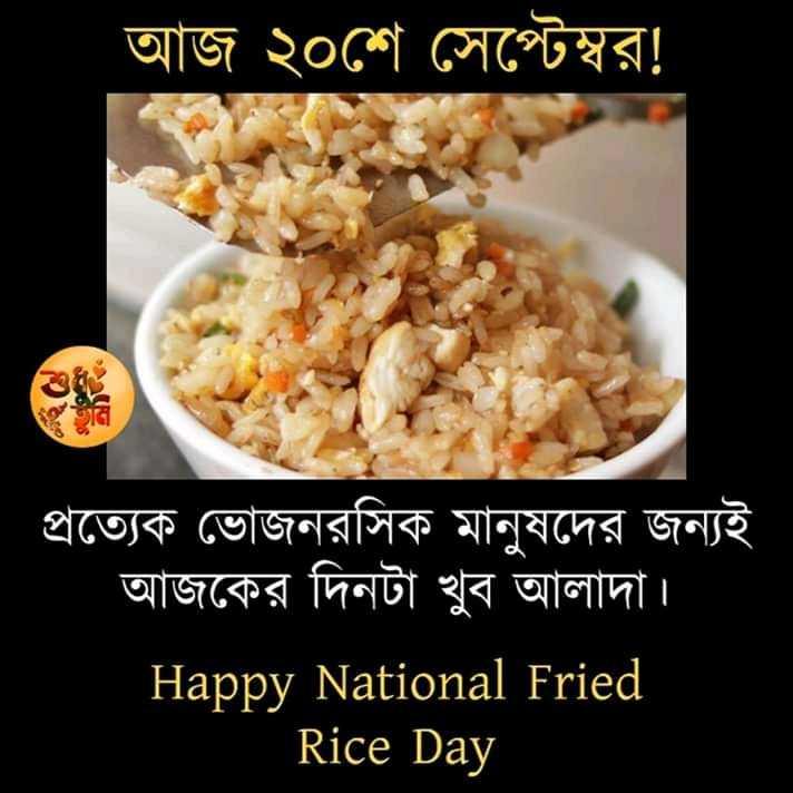 মজাদার তথ্য - আজ ২০শে সেপ্টেম্বর ! প্রত্যেক ভােজনরসিক মানুষদের জন্যই আজকের দিনটা খুব আলাদা । Happy National Fried Rice Day - ShareChat