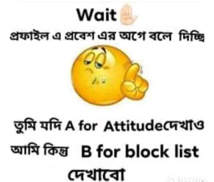 😝মজাদার স্ট্যাটাস - Wait   প্রফাইল এ প্রবেশ এর আগে বলে দিচ্ছি   তুমি যদি A for Attitudeদেখাও আমি কিন্তু B for block list দেখাবাে । - ShareChat