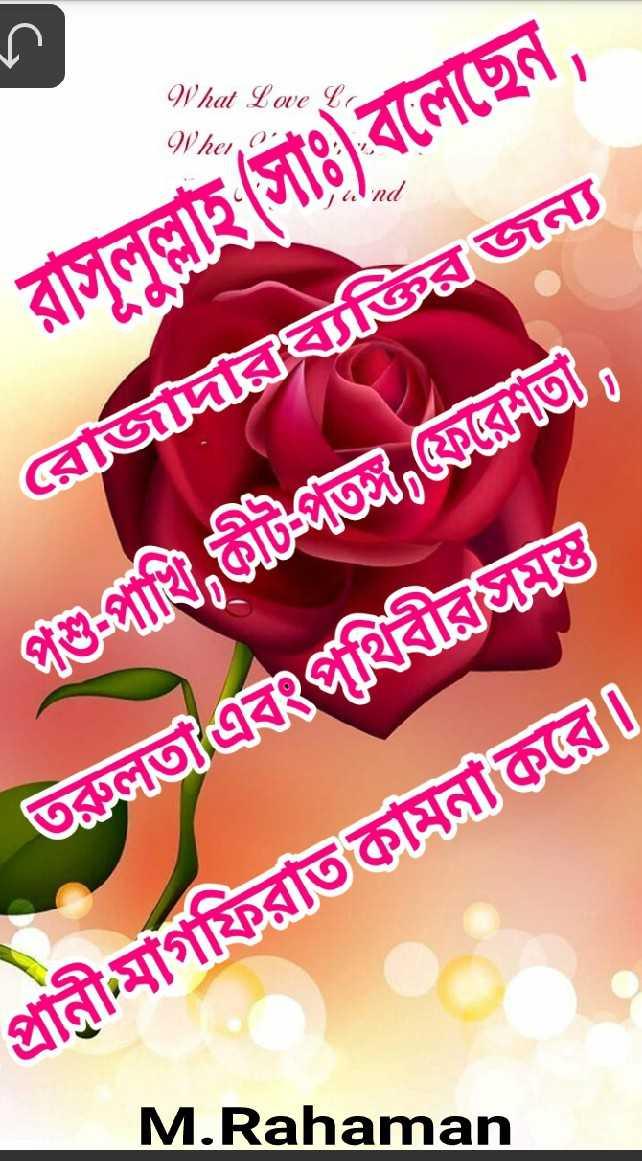 রমজানের শুভেচ্ছা - What Whe রাসূলুল্লাহ ( সাঃ ) বলেছেন , রােজদরব্যক্তির জন্য পশু - পাখি , কীটভি , রেণত । | ভাতা এবংপথিবীরভ । প্রানীমাগফিরাত কামনা করো । M . Rahaman - ShareChat