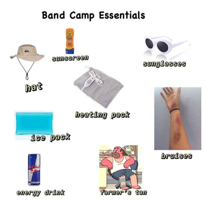 শীতের MEMES😂 - Band Camp Essentials a spasereen sunscreen sunglasses hat heating pack ice pack ICA GE bruises Red Bull energy drink farmer ' s tan - ShareChat