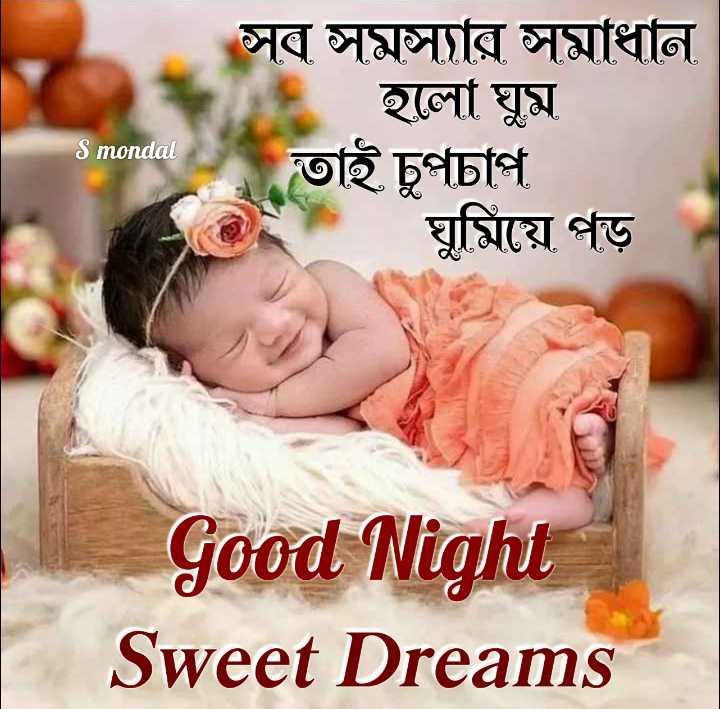 🙌শুভকামনা - সব সমস্যার সমাধান হলাে ঘুম তাই চুপচাপ ঘুমিয়ে পড় S mondal Good Night Sweet Dreams - ShareChat
