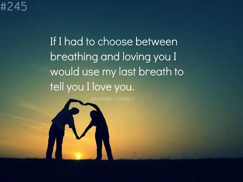 🙌শুভকামনা - # 245 If I had to choose between breathing and loving you I would use my last breath to tell you I love you . BASHMBLI TUMBLR - ShareChat