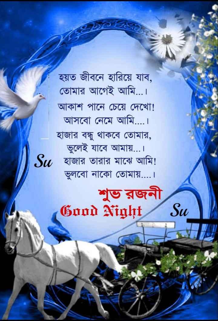 🌑শুভ রাত্রি - ১৫ হয়ত জীবনে হারিয়ে যাব , তােমার আগেই আমি . . . । আকাশ পানে চেয়ে দেখাে ! আসবাে নেমে আমি . . . . । হাজার বন্ধু থাকবে তােমার , ভুলেই যাবে আমায় . . . । হাজার তারার মাঝে আমি ! ভুলবাে নাকো তােমায় . . . . । শুভ রজনী Good Night Su - ShareChat