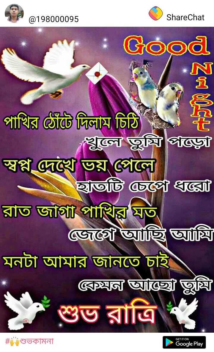 🌑শুভ রাত্রি - @ 198000095 ShareChat OQ * I্য হ পাখির ঠোঁটে দিলাম , চিঠি খুলে তুমি পাড়ে স্বপ্ন দেখে ভয় পেলে । হাতটি চেপে ধক্সে রাত জাগা পাখির মত | জেগে আছি অ্যান্সি মনটা আমার জানতে চাই । * কেমন আচ্ছে তুন্নি শুভ রাত্রি , GET IT ON | # শুভকামনা Google Play - ShareChat