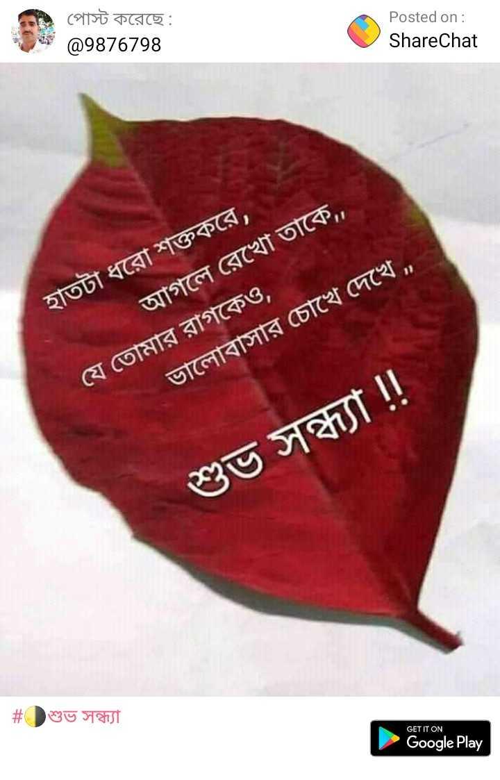 🌗শুভ সন্ধ্যা - পােস্ট করেছে : @ 9876798 Posted on : ShareChat হাতটা ধরাে শক্তকরে , । আগলে রেখাে তাকে , , ' যে তােমার রাগকেও , । ভালােবাসার চোখে দেখে , শুভ সন্ধ্যা ! ! | # শুভ সন্ধ্যা GET IT ON Google Play - ShareChat