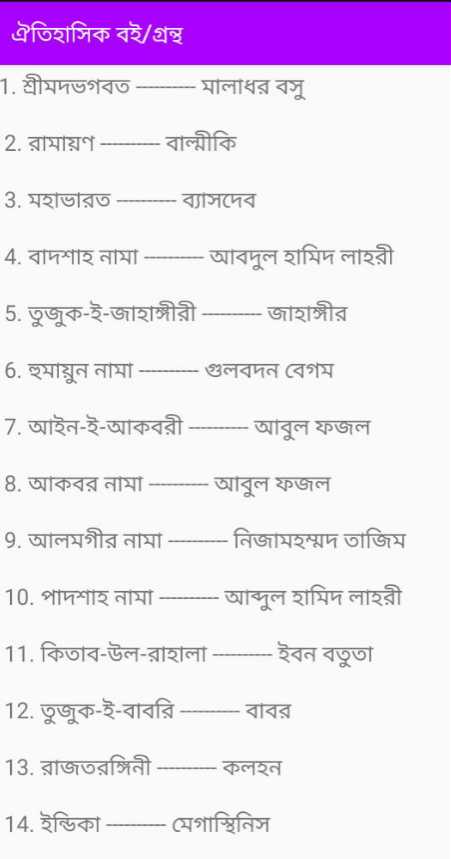 সাধারণ জ্ঞান 📚 -   ঐতিহাসিক বই / গ্রন্থ 1 . শ্ৰীমদভগবত - - - - - - - মালাধর বসু 2 . রামায়ণ - - - বাল্মীকি 3 . মহাভারত - - - - - - ব্যাসদেব 4 . বাদশাহ নামা - - - - - - - আবদুল হামিদ লাহরী 5 . তুজুক - ই - জাহাঙ্গীরী - - - - জাহাঙ্গীর 6 . হুমায়ুন নামা - - - গুলবদন বেগম 7 . আইন - ই - আকবরী - - - - - - - - আবুল ফজল 8 . আকবর নামা - - - - - আবুল ফজল 9 . আলমগীর নামা - - - - - নিজামহম্মদ তাজিম 10 . পাদশাহ নামা - - - - - - - আব্দুল হামিদ লাহরী 11 . কিতাব - উল - রাহালা - - - - ইবন বতুতা 12 . তুজুক - ই - বাবরি – বাবর 13 . রাজতরঙ্গিনী - কলহন 14 . ইন্ডিকা - মেগাস্থিনিস - ShareChat