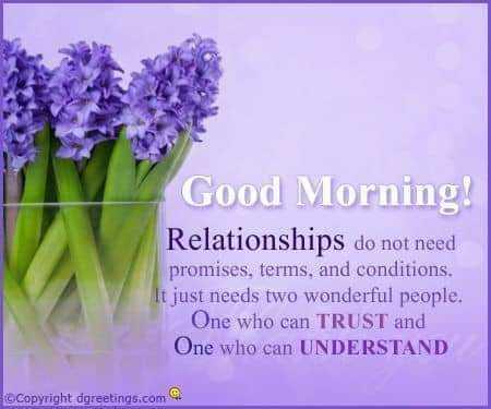 🌞সুপ্রভাত - Good Morning ! Relationships do not need promises , terms , and conditions . t just needs two wonderful people . One who can TRUST and One who can UNDERSTAND © Copyright dgreetings . com - ShareChat