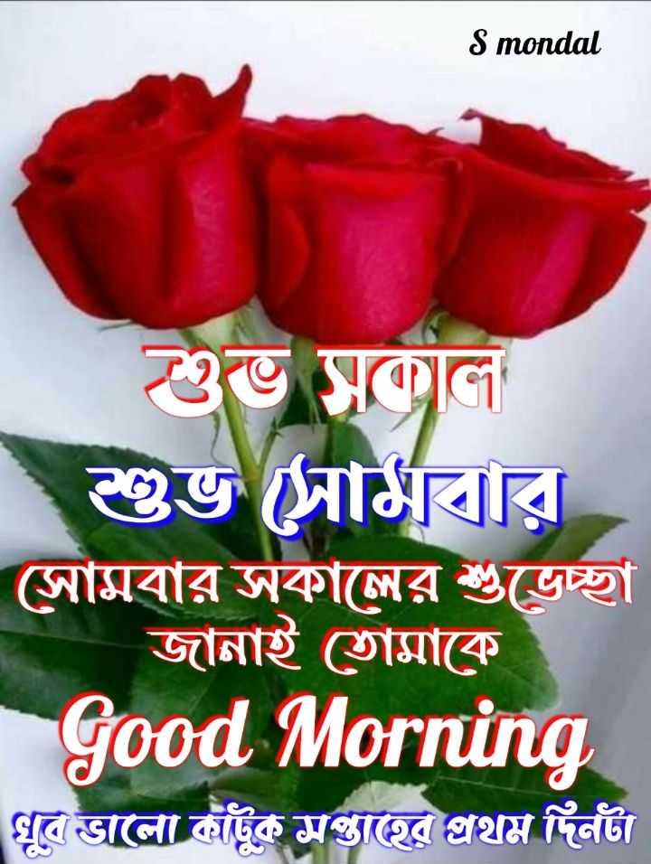 🌞সুপ্রভাত - S mondal শুভ সকাল । শুভ সারি সােমবার সকালের শুভেচ্ছা জানাই তােমাকে Good Morning খুব ভালো কাটুক সপ্তাহের প্রথম দিনটা - ShareChat