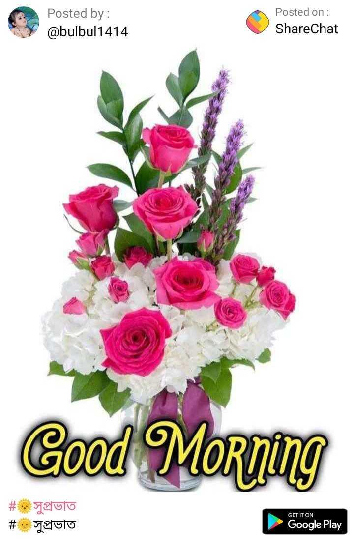 সু প্রভাত - Posted by : @ bulbul1414 Posted on : ShareChat Good Morning # o # glulo paulo GET IT ON Google Play - ShareChat