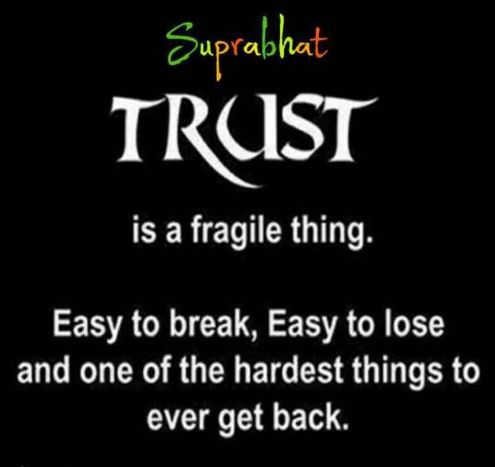 🌞সুপ্রভাত - Suprabhat TRUST is a fragile thing . Easy to break , Easy to lose and one of the hardest things to ever get back . - ShareChat