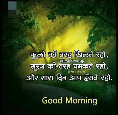 🌞 সুপ্ৰভাত - @ Hindi Status dp फूलो की तरह खिलते रहो , सूरज की तरह चमकते रहो , और सारा दिन आप हँसते रहो . Suyash Mishra Good Morning - ShareChat