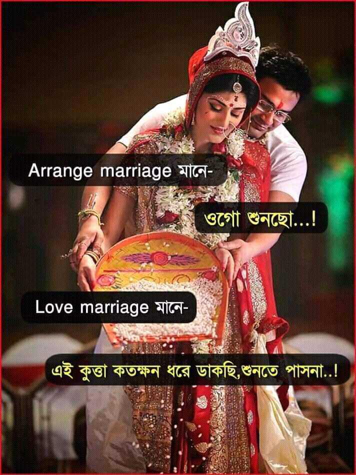 😂হাস্যকর ছবি - Arrange marriage মানে । ওগাে শুনছাে . . . ! ' Love marriage মানে এই কুত্তা কতক্ষন ধরে ডাকছি , শুনতে পাসনা . . ! ! - ShareChat