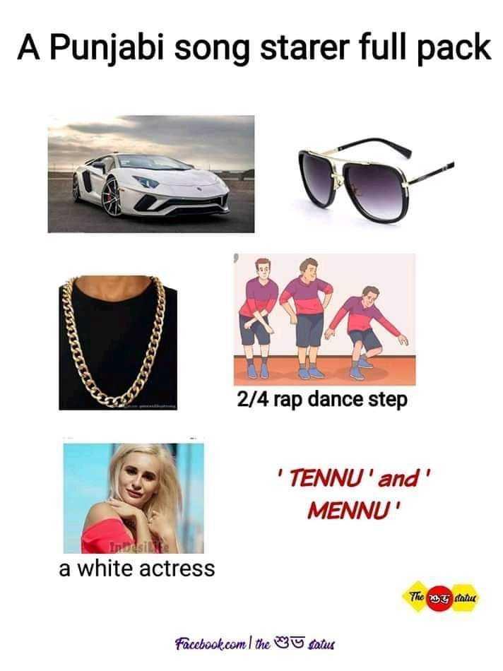 😁হাস্য কৌতুক - A Punjabi song starer full pack 2 / 4 rap dance step ' TENNU ' and MENNU ' a white actress The 20T mahu Facebook . com I the u satus - ShareChat
