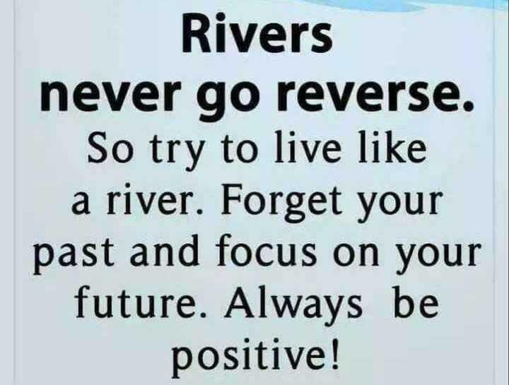 😎 ਐਟੀਟਿਉਡ ਸਟੇਟਸ - Rivers never go reverse . So try to live like a river . Forget your past and focus on your future . Always be positive ! - ShareChat