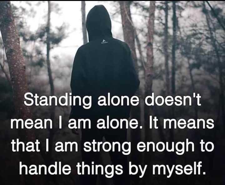 😎 ਐਟੀਟਿਉਡ ਸਟੇਟਸ - Standing alone doesn ' t mean I am alone . It means that I am strong enough to handle things by myself . - ShareChat