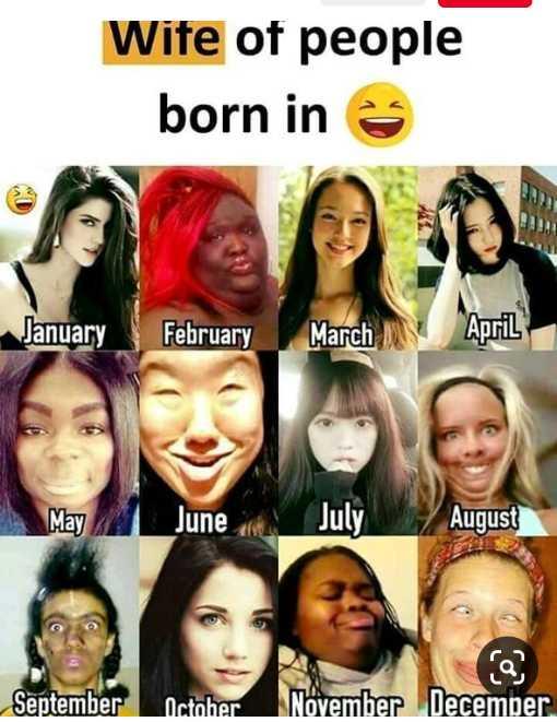 😜  ਕਲੋਲਾਂ - Wife of people born in e January February March April May M _ June July August September October ia November December - ShareChat