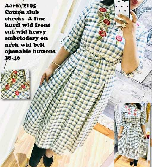 👗 ਕੁੜੀਆਂ ਦਾ ਫੈਸ਼ਨ - Aarfa 2195 Cotton slub checks A line kurti wid front cut wid heavy embriodery on neck wid belt openable buttons 38 - 46 - ShareChat