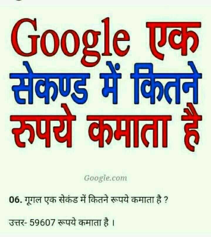 📜 ਜਨਰਲ ਨੋਲੇਜ - Google uch सेकण्ड में कितने रुपये कमाता है । Google . com 06 . गूगल एक सेकंड में कितने रूपये कमाता है ? उत्तर - 59607 रूपये कमाता है । - ShareChat