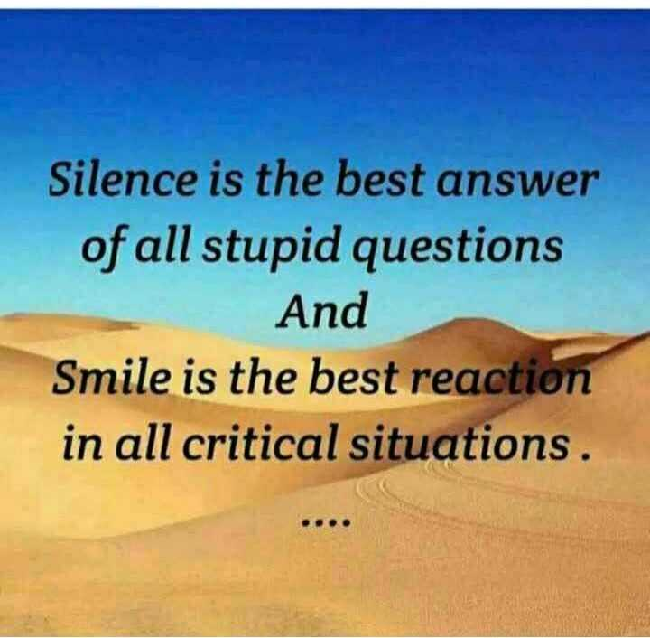 💖 ਦਿਲ ਦੇ ਜਜਬਾਤ - Silence is the best answer of all stupid questions And Smile is the best reaction in all critical situations . - ShareChat