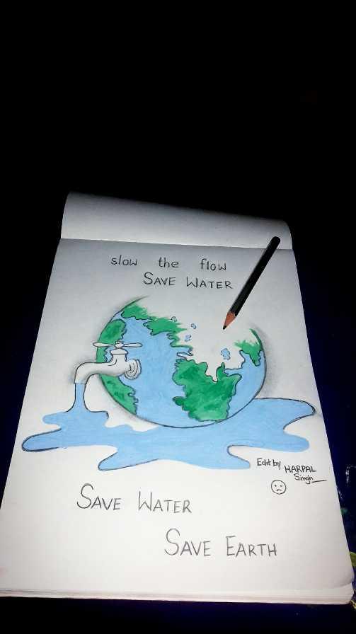 💔 ਦੁਖੀ ਹਿਰਦਾ - slow the flow SAVE WATER Edit by HARPAL Singh SAVE WATER SAVE EARTH - ShareChat