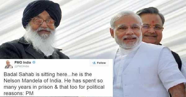 🙏 ਪ੍ਰਕਾਸ਼ ਸਿੰਘ ਬਾਦਲ - PMO India PMOIndia Follow Badal Sahab is sitting here . . . he is the Nelson Mandela of India . He has spent so many years in prison & that too for political reasons : PM - ShareChat