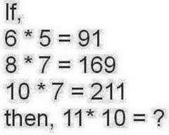 🤓 ਪੜ੍ਹਾਈ ਵੀ, ਮਸਤੀ ਵੀ - 6 * 5 = 91 8 * 7 = 169 10 * 7 = 211 then , 11 * 10 = ? - ShareChat