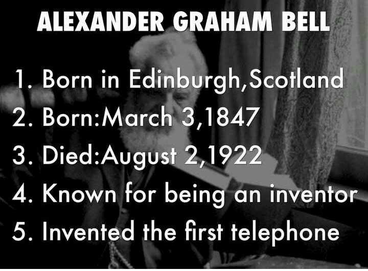 💐 ਬਰਸੀ ਅਲੇਗਜ਼ੈਂਡਰ ਗ੍ਰਾਹਮ ਬੈਲ - ALEXANDER GRAHAM BELL 1 . Born in Edinburgh , Scotland 2 . Born : March 3 , 1847 3 . Died : August 2 , 1922 4 . Known for being an inventor 5 . Invented the first telephone - ShareChat