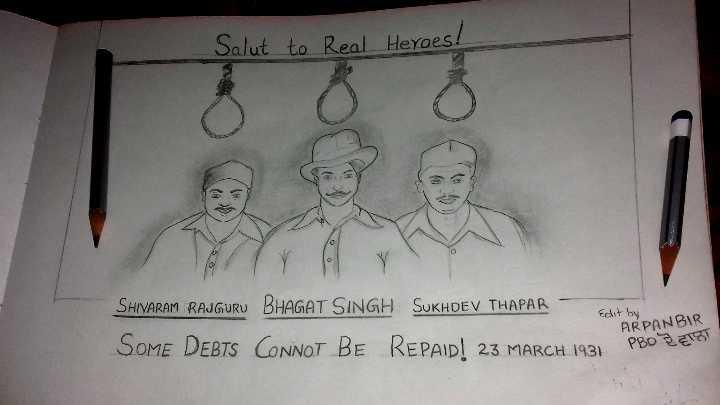 🙏ਭਗਤ ਸਿੰਘ ਸ਼ਹੀਦੀ ਦਿਵਸ 🔥 - Salut to Real Heroes ! Edit by SHIVARAM RAJGURU BHAGAT SINGH SUKHDEV THAPAR SOME DEBTS CONNOT BE REPAID ! 23 MARCH 1931 ARPANBAR - ShareChat