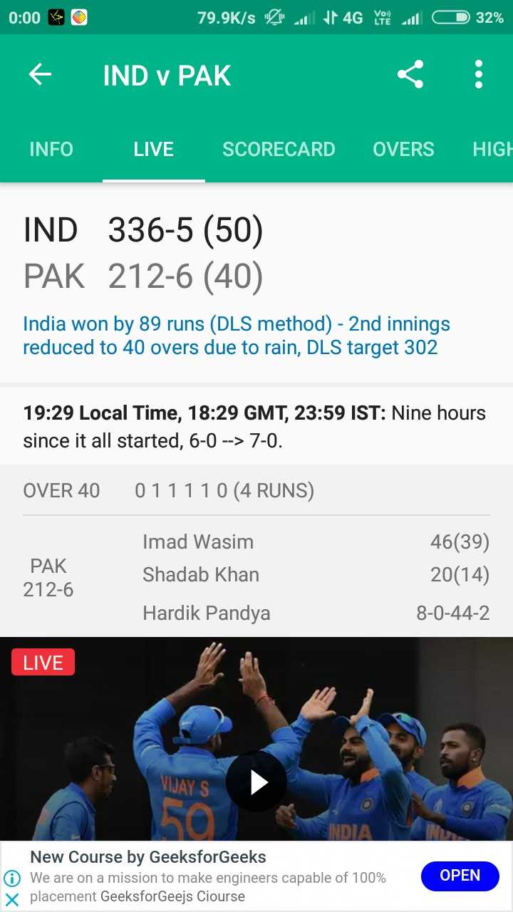 🏏🇮🇳 ਭਾਰਤ vs ਪਾਕਿਸਤਾਨ 🇵🇰 - 0 : 00 0 79 . 9K / s A 4G you will 32 % f IND v PAK INFO LIVE SCORECARD OVERS HIGH IND 336 - 5 ( 50 ) PAK 212 - 6 ( 40 ) India won by 89 runs ( DLS method ) - 2nd innings reduced to 40 overs due to rain , DLS target 302 19 : 29 Local Time , 18 : 29 GMT , 23 : 59 IST : Nine hours since it all started , 6 - 0 - - > 7 - 0 . OVER 40 011110 ( 4 RUNS ) PAK 212 - 6 Imad Wasim Shadab Khan 46 ( 39 ) 20 ( 14 ) 8 - 0 - 44 - 2 Hardik Pandya LIVE VIJAY S SINDI New Course by GeeksforGeeks O We are on a mission to make engineers capable of 100 % x placement GeeksforGeejs Ciourse OPEN - ShareChat