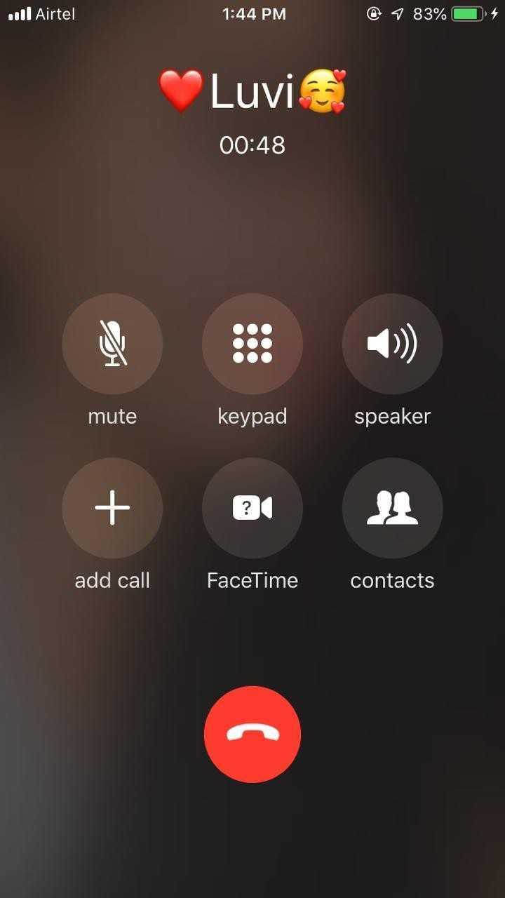 😘ਮਿਸ ਯੂ😘 - . 111 Airtel 1 : 44 PM 1 83 % 0 4 Luvia 00 : 48 mute keypad speaker ? add call FaceTime contacts - ShareChat