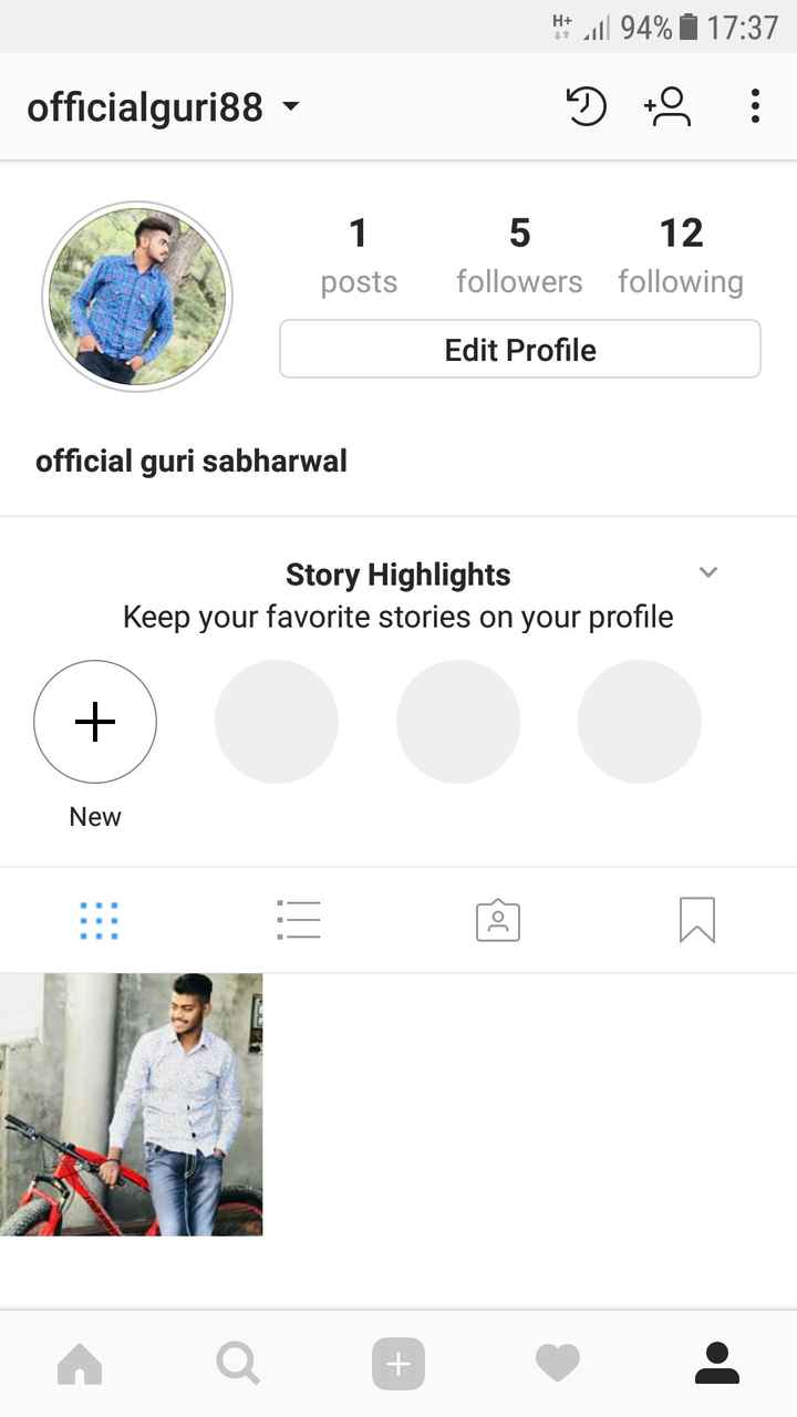 💭 ਮੇਰੇ ਵਿਚਾਰ - * * 11 94 % | 17 : 37 DO : officialguri88 1 posts 5 12 followers following Edit Profile official guri sabharwal Story Highlights Keep your favorite stories on your profile New - ShareChat