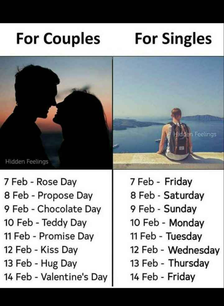 💭 ਮੇਰੇ ਵਿਚਾਰ - For Couples For Singles Hidden Feelings Hidden Feelings 7 Feb - Rose Day 8 Feb - Propose Day 9 Feb - Chocolate Day 10 Feb - Teddy Day 11 Feb - Promise Day 12 Feb - Kiss Day 13 Feb - Hug Day 14 Feb - Valentine ' s Day 7 Feb - Friday 8 Feb - Saturday 9 Feb - Sunday 10 Feb - Monday 11 Feb - Tuesday 12 Feb - Wednesday 13 Feb - Thursday 14 Feb - Friday - ShareChat