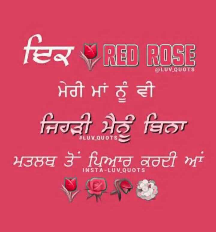 💘ਵੈਲੇਨਟਾਈਨ ਡੇ Coming Soon - @ LUV QUOTS fer RED ROSE ਮੇਰੀ ਮਾਂ ਨੂੰ ਵੀ ਜਿਹੜੀ ਮੈਨੂੰ ਬਿਨਾ ਮਤਲਬ ਤੋਂ ਪਿਆਰ ਕਰਦੀ ਆਂ # LUV _ QUOTS INSTA - LUV _ QUOTS - ShareChat