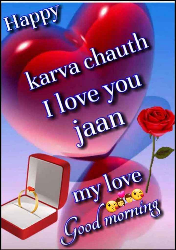 🌕 ਹੈਪੀ ਕਰਵਾ ਚੌਥ 🌙 - Happy karva chauth I love you jaan my love Good morning - ShareChat