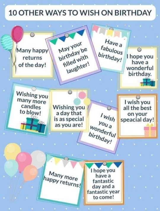🔠 અંગ્રેજી શીખો અને શીખવો - 10 OTHER WAYS TO WISH ON BIRTHDAY Many happy returns of the day ! Have a fabulous i hope birthday ! May your birthday be filled with laughter ! I hope you have a wonderful birthday . Wishing you many more candles to blow ! I wish you all the best on your speacial day ! Wishing you a day that is as special as you are ! OD I wish WWW you a wonderful birthday ! Many more happy returns ! I hope you have a fantastic day and a fantastic year to come ! - ShareChat