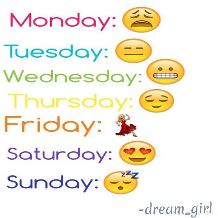 🤣 ઈમોજી ચેલેન્જ - Monday : Tuesday : 6 Wednesday : 3 Thursday : Friday : Saturday : Sunday : 3 - dream _ girl - ShareChat
