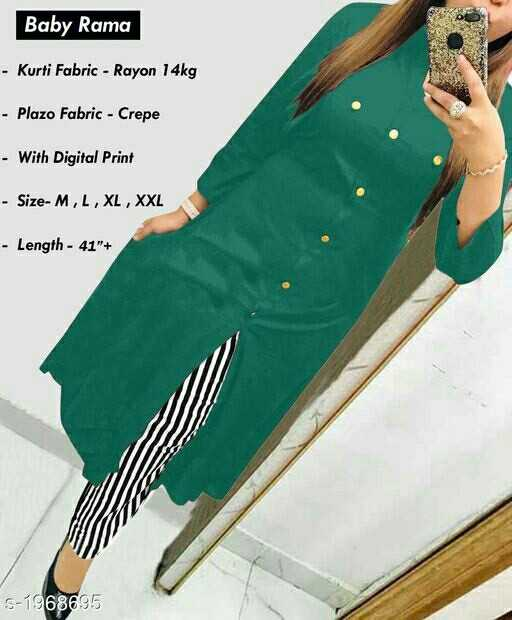👲 ઉનાળાની ફેશન - Baby Rama - Kurti Fabric - Rayon 14kg - Plazo Fabric - Crepe - With Digital Print - Size - M , L , XL , XXL - Length - 41 + S - 1968695 - ShareChat