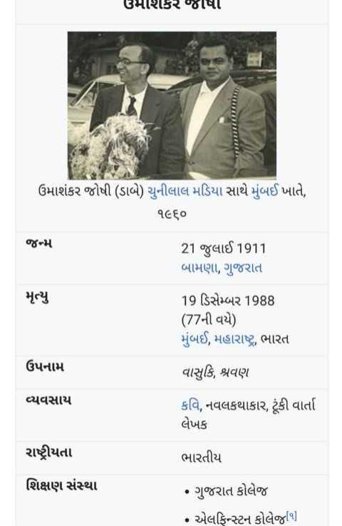 💐 ઉમાશંકર જોશી જન્મજ્યંતિ - ઉમાશકર જેવા runny ઉમાશંકર જોષી ( ડાબે ) ચુનીલાલ મડિયા સાથે મુંબઈ ખાતે , ૧૯૬૦ જન્મ 21 જુલાઈ 1911 બામણા , ગુજરાત મૃત્યુ 19 ડિસેમ્બર 1988 ( 77ની વયે ) મુંબઈ , મહારાષ્ટ્ર , ભારત ઉપનામ વાસુકિ , શ્રવણ વ્યવસાય કવિ , નવલકથાકાર , ટૂંકી વાર્તા લેખક રાષ્ટ્રીયતા ભારતીય શિક્ષણ સંસ્થા • ગુજરાત કોલેજ • એલફિન્સ્ટન કોલેજ૧ ] - ShareChat