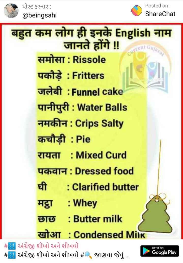 📰 કરંટ અફેર્સ - પોસ્ટ કરનાર : @ beingsahi Posted on : ShareChat ContGuja ujarar बहुत कम लोग ही इनके English नाम जानते होंगे ! ! HHHHT : Rissole पकौड़े : Fritters जलेबी : Funnel cake पानीपुरी : Water Balls नमकीन : Crips Salty cuisit : Pie रायता : Mixed Curd पकवान : Dressed food घी : Clarified butter मट्ठा : Whey छाछ : Butter milk खोआ : Condensed Milk # Bअंग्रे शीणो मने शीजवो # B अंग्रेज शीपो मने शीजवो # गए । वा ठेवू . . . GET IT ON Google Play - ShareChat