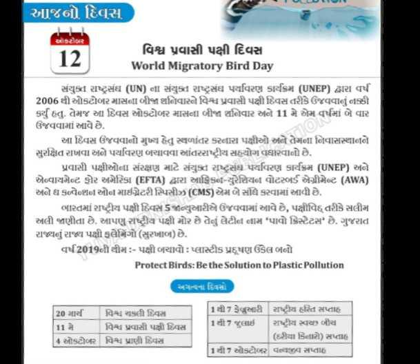 📰 કરંટ અફેર્સ - આજનો દિવસ આર વિશ્વ પ્રવાસી પક્ષી દિવસ 2 World Migratory Bird Day સંયુક્ત રાષ્ટ્રસંઘ ( UN ) ના સંયુક્ત રાષ્ટ્રસંઘ પર્યાવરણ કાર્યક્રમ ( UNEP ) દ્વારા વર્ષ 2006 થી ઓકટોબર માસમgI બીજા શનિવારને વિશ્વ પ્રવાસી પક્ષી દિવસ તરીકે ઉજવવાનું નક્કી કર્યું હતું . તેમજ આ દિવસ ઓકટોબર માસના બીજા શનિવાર અને 11 મે એમ વર્ષમાં બે વાર ઉજવવામાં આવે છે . આ દિવસ ઉજવવાનો મુખ્ય હેતુ સ્થળાંતર કરનારા પક્ષીઓ અને તેમના નિવાસસ્થાને સુરક્ષત રાખવા અને પર્યાવરણ બચાવવા આંતરરાષ્ટ્રીય સહયોગ વધારવાનો છે . પ્રવાસી પક્ષીઓMI સંરક્ષણ માટે સંયુક્ત રાષ્ટ્રસંઘ પર્યાવરણ કાર્યક્રમ ( UNEP ) અને એવાયમેટ ફોર અમેરિકા ( EFTA ) દ્વારા આફ્રિકo - યુરેશિયન વોટરબર્ડ એગ્રીમેન્ટ ( AWA ) અને ધ કન્વેool ઓન માઈગ્રેટરીuસીઝ ( CMS ) એમ બેસવે કરવામાં આવી છે . ભારતમાં રાષ્ટ્રીય પક્ષીવિસ૬જાન્યુઆરીએ ઉજવવામાં આવે છે , પક્ષીવિદ્દ તરીકે સલીમ અલી જાણીતા છે . આપણું રાષ્ટ્રીય પક્ષી મોર છે તેનું લેટીન નામ ' પાવો ક્રિસ્ટેટસમે છે . ગુજરાત રાજ્યનું રાજ્ય પક્ષી મંગો ( સુરખાબ ) છે . | Gર્ષ 2019ની થીમ : - પક્ષી બચાવોઃ પ્લાસ્ટીક પ્રદૂષણ ઉકેલ બનો Protect Birds : Be the Solution to Plastic Pollution અગત્યના દિવસો 20 માર્ચ વિશ્વ ચકલી દિવસ [ 11 મે - વિશ્વ પ્રવાસી પક્ષી દિવસ ઓકટોબર વિશ્વ પ્રાણી દિવસ 1થી7 ફેબ્રુઆરી રાષ્ટ્રીય હરિત સપ્તાહ 1થી7 જુલાઈ રાષ્ટ્રીય સ્વચ્છ બીચ ( રીયા કિનારો ) સતાહ 1થી7 ઓક્ટોબર gવ4 સપ્તાહ - ShareChat