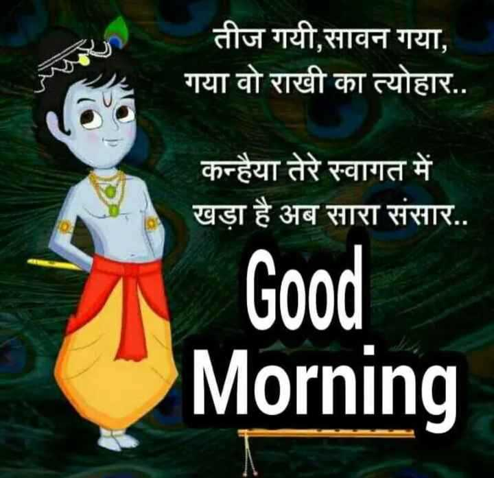 🙏 કૃષ્ણ જન્માષ્ટમી - तीज गयी , सावन गया , गया वो राखी का त्योहार . . कन्हैया तेरे स्वागत में खड़ा है अब सारा संसार . . Good Morning - ShareChat