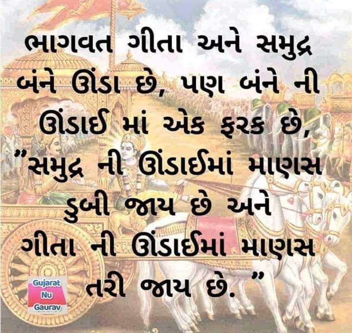 """📙 ગીતા નો સાર - ભાગવત ગીતા અને સમુદ્ર બંને ઊંડા છે , પણ બંને ની - ઊંડાઈ માં એક ફરક છે , . સમુદ્ર ની ઊંડાઈમાં માણસા તો તે ડુબી જાય છે અને ગીતા ની ઊંડાઈમાં માણસ જ તરી જાય છે . """" Gujarat Nu Gaurav હક - ShareChat"""